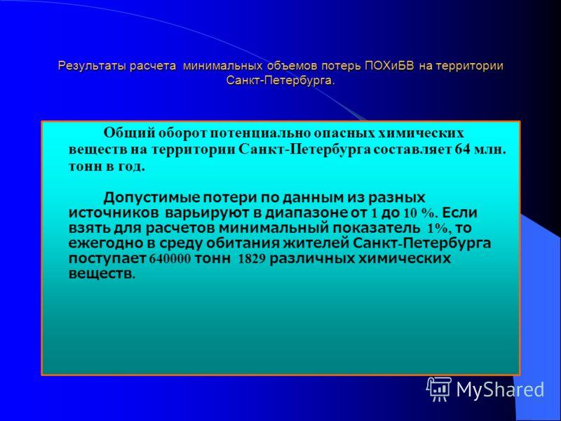 Результаты расчета минимальных объемов потерь ПОХиБВ на территории Санкт-Петербурга. Общий оборот потенциально опасных химических веществ на территории Санкт-Петербурга составляет 64 млн. тонн в год. Допустимые потери по данным из разных источников в