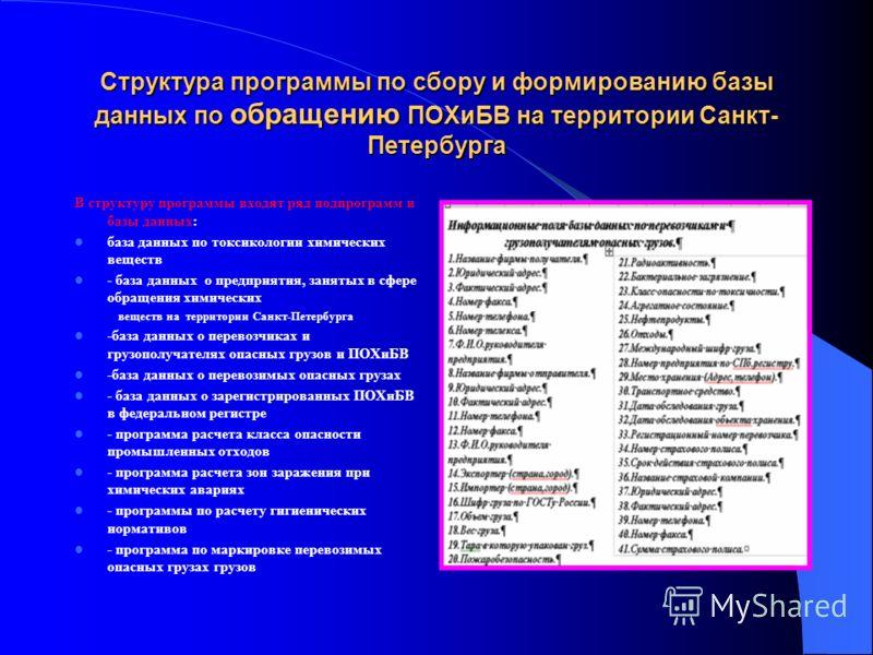 Структура программы по сбору и формированию базы данных по обращению ПОХиБВ на территории Санкт- Петербурга В структуру программы входят ряд подпрограмм и базы данных: база данных по токсикологии химических веществ - база данных о предприятия, заняты