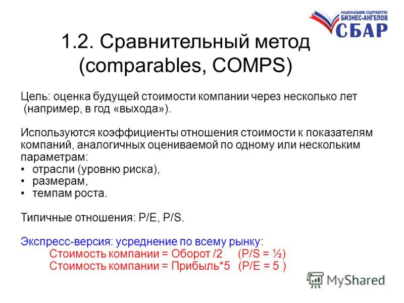 1.2. Сравнительный метод (comparables, COMPS) Цель: оценка будущей стоимости компании через несколько лет (например, в год «выхода»). Используются коэффициенты отношения стоимости к показателям компаний, аналогичных оцениваемой по одному или нескольк