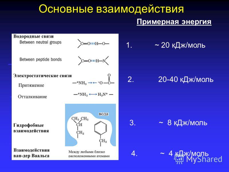 «Слабые» химические связи Нековалентные взаимодействия: Водородные связи Водородные связи Электростатические (ионные и ионно- дипольные) связи Электростатические (ионные и ионно- дипольные) связи Гидрофобные связи Гидрофобные связи Взаимодействия ван
