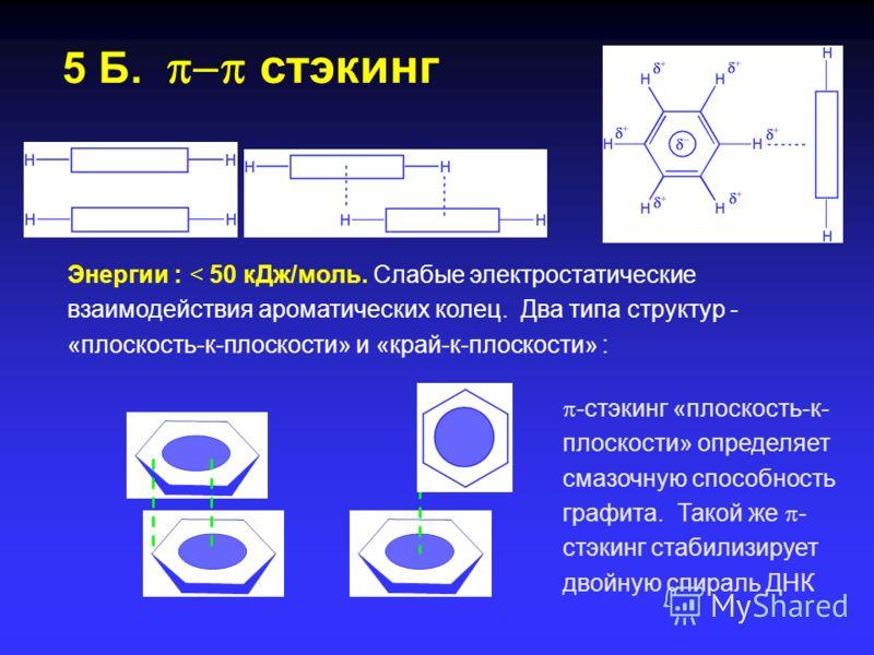 5 А. Катион – взаимодействия Энергии : 5 – 80 кДж/моль. Взаимодействия катионов щелочных и щелочноземельных металлов с двойными связями C=C. Играют важную роль в биологических системах.