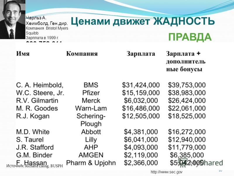 16 Чарльз A. Хеимболд, Ген.дир. Компания Bristol Myers Squibb Зарплата в 1999 г. $39,752,611 Ценами движет ЖАДНОСТЬ Источник : Richard Laing, BUSPH ПРАВДА