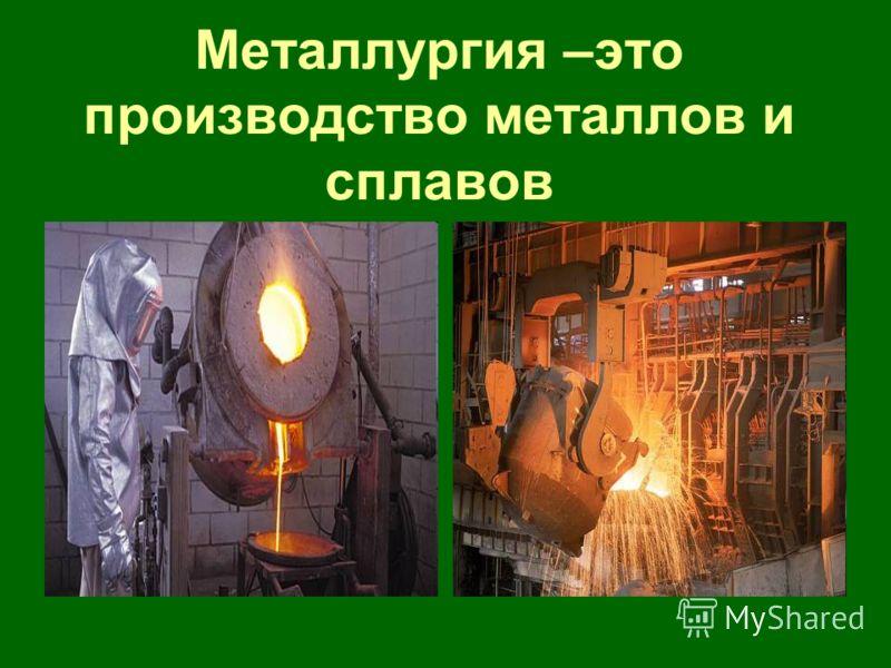 Металлургия –это производство металлов и сплавов