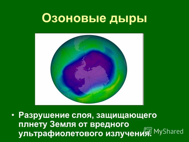 Озоновые дыры Разрушение слоя, защищающего плнету Земля от вредного ультрафиолетового излучения.