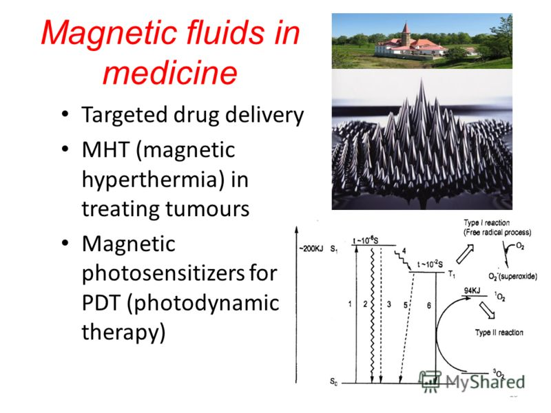 15 Magnetic fluids in medicine Targeted drug delivery MHT (magnetic hyperthermia) in treating tumours Magnetic photosensitizers for PDT (photodynamic therapy)