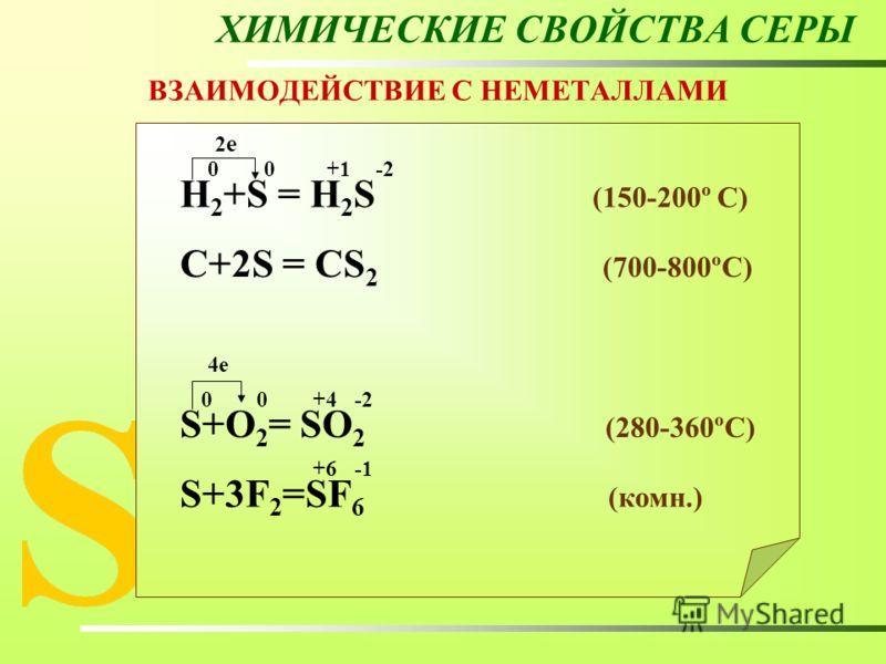 ХИМИЧЕСКИЕ СВОЙСТВА СЕРЫ ВЗАИМОДЕЙСТВИЕ С НЕМЕТАЛЛАМИ Н 2 +S = Н 2 S (150-200º C) C+2S = CS 2 (700-800ºC) S+O 2 = SO 2 (280-360ºC) S+3F 2 =SF 6 (комн.) 00+1-2 2е2е 00 +4 4е +6