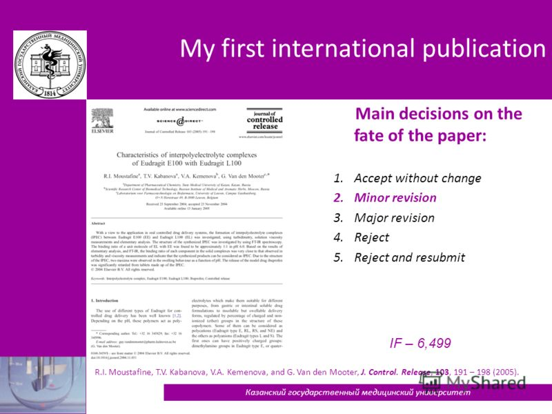 My first international publication R.I. Moustafine, T.V. Kabanova, V.A. Kemenova, and G. Van den Mooter, J. Control. Release, 103, 191 – 198 (2005). 18 Main decisions on the fate of the paper: 1.Accept without change 2.Minor revision 3.Major revision