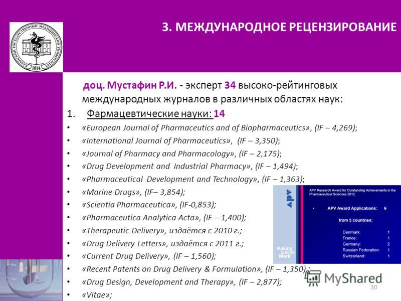 3. МЕЖДУНАРОДНОЕ РЕЦЕНЗИРОВАНИЕ доц. Мустафин Р.И. - эксперт 34 высоко-рейтинговых международных журналов в различных областях наук: 1.Фармацевтические науки: 14 «European Journal of Pharmaceutics and of Biopharmaceutics», (IF – 4,269); «Internationa