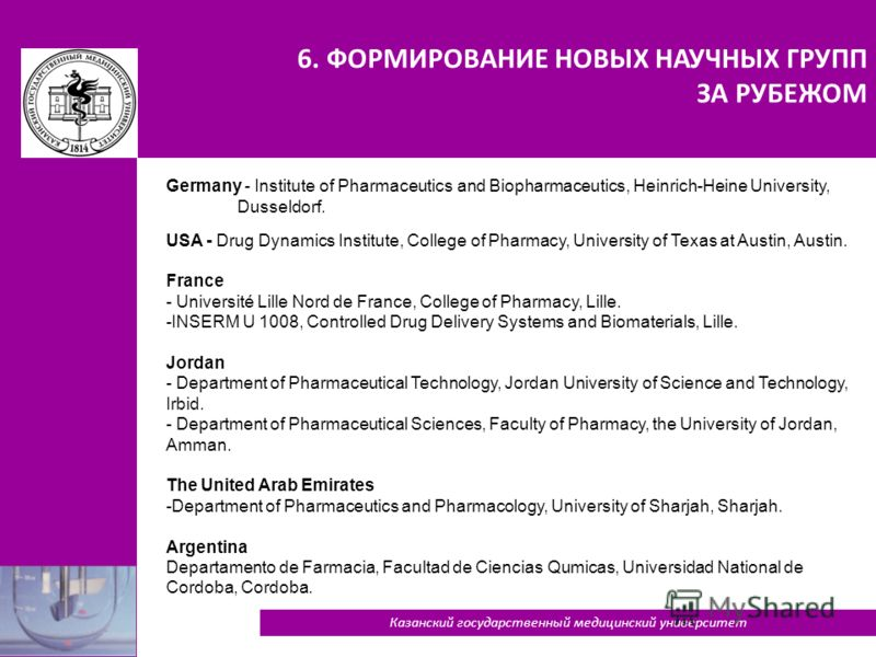6. ФОРМИРОВАНИЕ НОВЫХ НАУЧНЫХ ГРУПП ЗА РУБЕЖОМ 39 Germany - Institute of Pharmaceutics and Biopharmaceutics, Heinrich-Heine University, Dusseldorf. USA - Drug Dynamics Institute, College of Pharmacy, University of Texas at Austin, Austin. France - Un