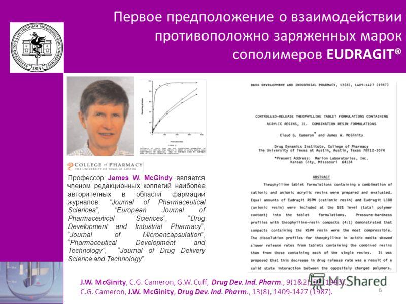 EUDRAGIT® Первое предположение о взаимодействии противоположно заряженных марок сополимеров EUDRAGIT® J.W. McGinity, C.G. Cameron, G.W. Cuff, Drug Dev. Ind. Pharm., 9(1&2), 57 (1983). C.G. Cameron, J.W. McGinity, Drug Dev. Ind. Pharm., 13(8), 1409-14