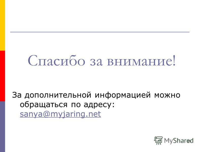 26 Спасибо за внимание! За дополнительной информацией можно обращаться по адресу: sanya@myjaring.net sanya@myjaring.net