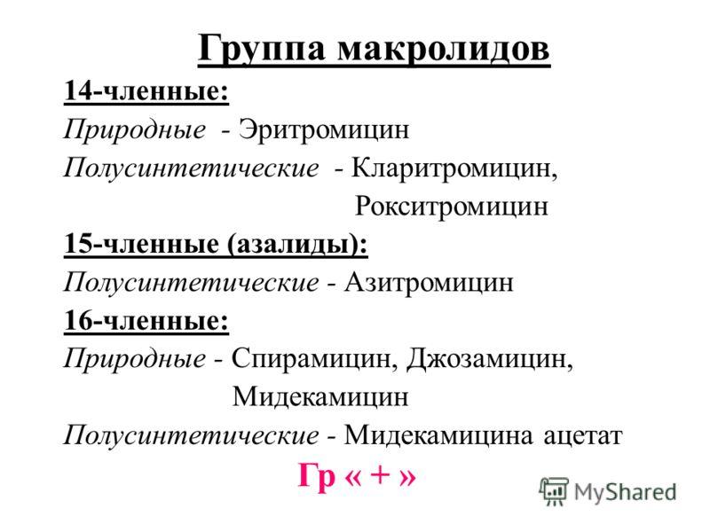 Группа макролидов 14-членные: Природные - Эритромицин Полусинтетические - Кларитромицин, Рокситромицин 15-членные (азалиды): Полусинтетические - Азитромицин 16-членные: Природные - Спирамицин, Джозамицин, Мидекамицин Полусинтетические - Мидекамицина