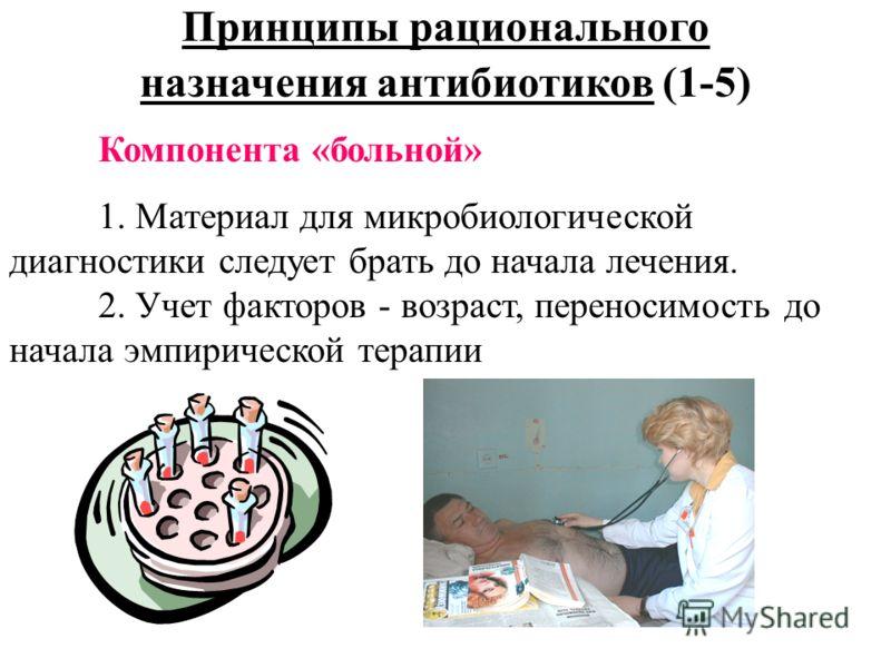 Принципы рационального назначения антибиотиков (1-5) Компонента «больной» 1. Материал для микробиологической диагностики следует брать до начала лечения. 2. Учет факторов - возраст, переносимость до начала эмпирической терапии