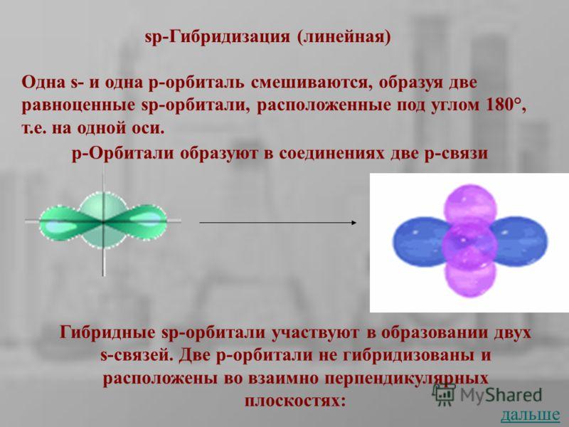 sp-Гибридизация (линейная) Одна s- и одна р-орбиталь смешиваются, образуя две равноценные sp-орбитали, расположенные под углом 180°, т.е. на одной оси. p-Орбитали образуют в соединениях две p-связи Гибридные sp-орбитали участвуют в образовании двух s