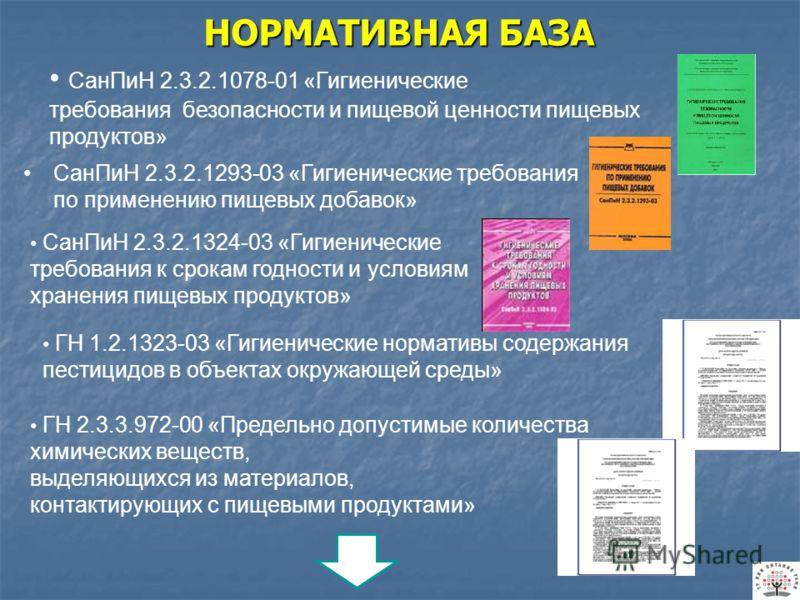 НОРМАТИВНАЯ БАЗА СанПиН 2.3.2.1078-01 «Гигиенические требования безопасности и пищевой ценности пищевых продуктов» СанПиН 2.3.2.1293-03 «Гигиенические требования по применению пищевых добавок» ГН 1.2.1323-03 «Гигиенические нормативы содержания пестиц