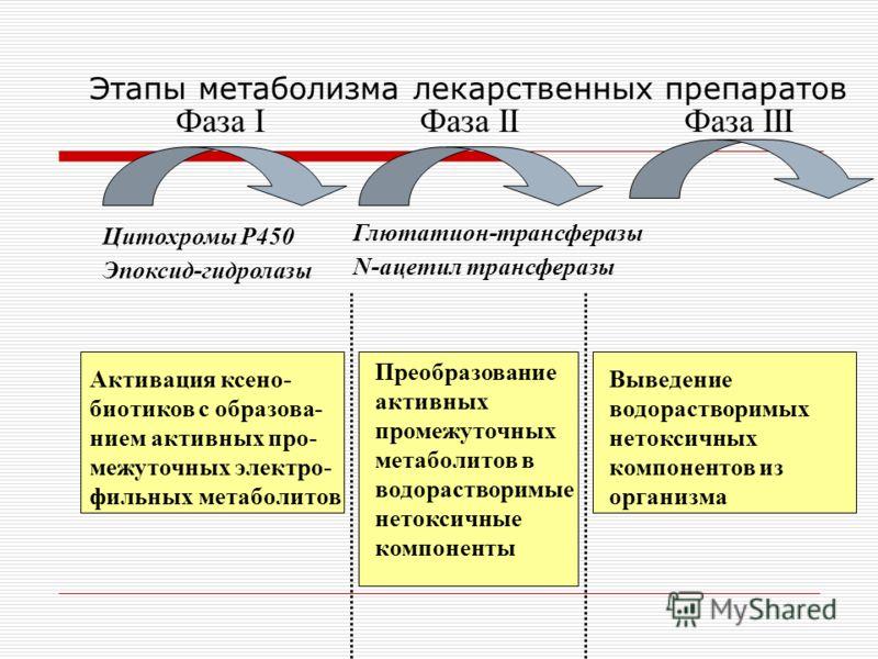 Этапы метаболизма лекарственных препаратов Фаза I Фаза II Фаза III Цитохромы P450 Эпоксид-гидролазы Глютатион-трансферазы N-ацетил трансферазы Активация ксено- биотиков с образова- нием активных про- межуточных электро- фильных метаболитов Преобразов