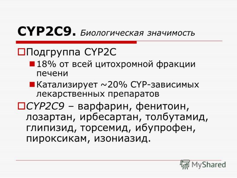 CYP2C9. Биологическая значимость Подгруппа CYP2C 18% от всей цитохромной фракции печени Катализирует ~20% CYP-зависимых лекарственных препаратов СYP2C9 – варфарин, фенитоин, лозартан, ирбесартан, толбутамид, глипизид, торсемид, ибупрофен, пироксикам,