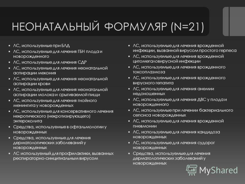 НЕОНАТАЛЬНЫЙ ФОРМУЛЯР (N=21) ЛС, используемые при БЛД ЛС, используемые для лечения ГБН плода и новорожденного ЛС, используемые для лечения СДР ЛС, используемые для лечения неонатальной аспирации мекония ЛС, используемые для лечения неонатальной аспир