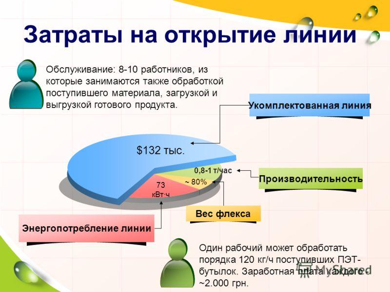 Затраты на открытие линии ~ 80% 0,8-1 т/час $132 тыс. 73 кВт·ч Укомплектованная линия Производительность Вес флекса Энергопотребление линии Обслуживание: 8-10 работников, из которые занимаются также обработкой поступившего материала, загрузкой и выгр