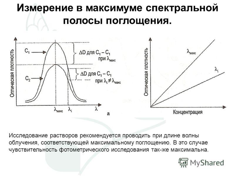 Измерение в максимуме спектральной полосы поглощения. Исследование растворов рекомендуется проводить при длине волны облучения, соответствующей максимальному поглощению. В это случае чувствительность фотометрического исследования так-же максимальна.