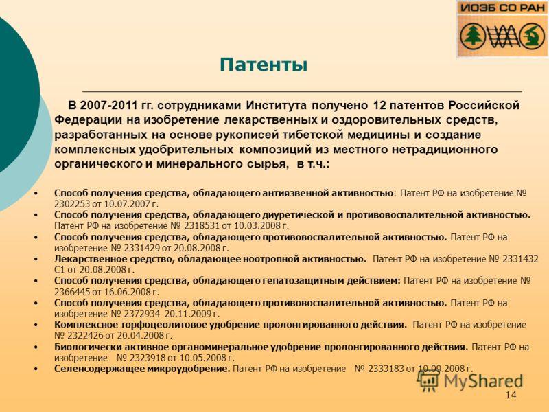 Патенты В 2007-2011 гг. сотрудниками Института получено 12 патентов Российской Федерации на изобретение лекарственных и оздоровительных средств, разработанных на основе рукописей тибетской медицины и создание комплексных удобрительных композиций из м