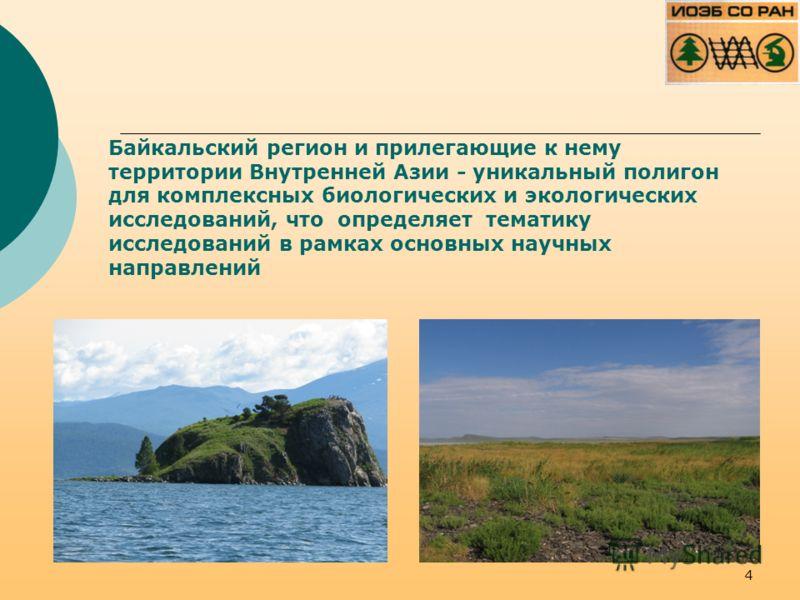 Байкальский регион и прилегающие к нему территории Внутренней Азии - уникальный полигон для комплексных биологических и экологических исследований, что определяет тематику исследований в рамках основных научных направлений 4