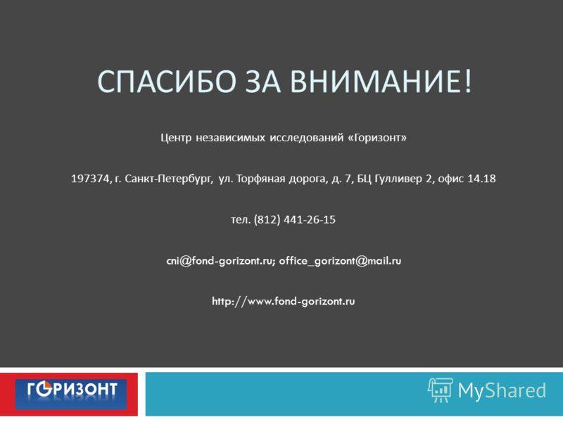 СПАСИБО ЗА ВНИМАНИЕ ! Центр независимых исследований « Горизонт » 197374, г. Санкт - Петербург, ул. Торфяная дорога, д. 7, БЦ Гулливер 2, офис 14.18 тел. (812) 441-26-15 cni@fond-gorizont.ru; office_gorizont@mail.ru http://www.fond-gorizont.ru
