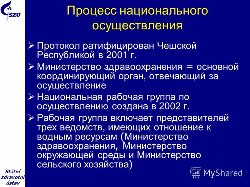 Státní zdravotní ústav Процесс национального осуществления Протокол ратифицирован Чешской Республикой в 2001 г. Министерство здравоохранения = основной координирующий орган, отвечающий за осуществление Национальная рабочая группа по осуществлению соз