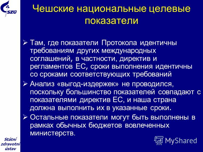 Státní zdravotní ústav Чешские национальные целевые показатели Там, где показатели Протокола идентичны требованиям других международных соглашений, в частности, директив и регламентов ЕС, сроки выполнения идентичны со сроками соответствующих требован