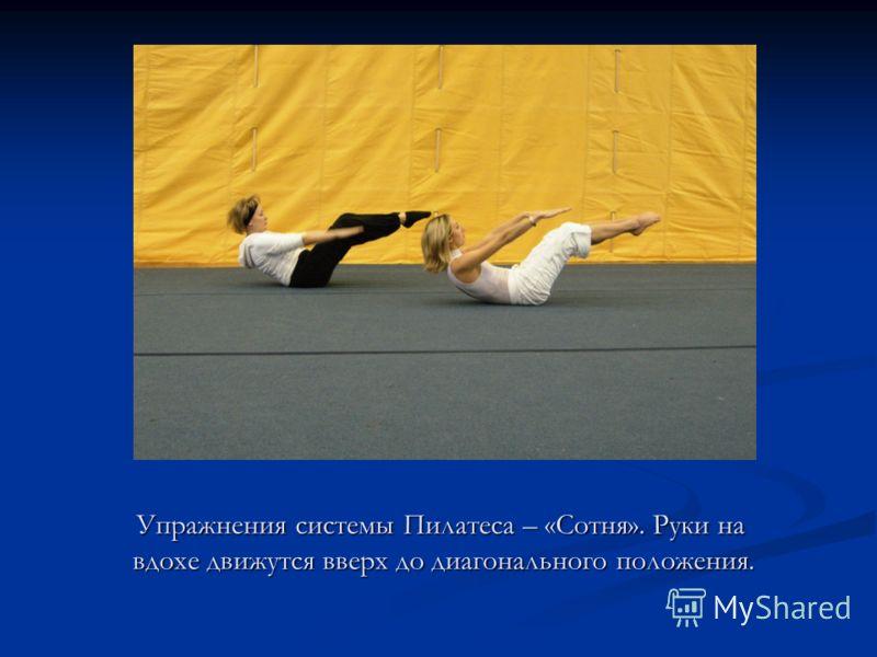 Упражнения системы Пилатеса – «Сотня». Руки на вдохе движутся вверх до диагонального положения. Упражнения системы Пилатеса – «Сотня». Руки на вдохе движутся вверх до диагонального положения.