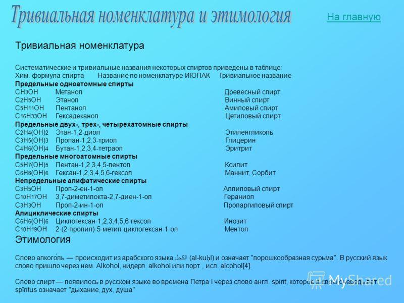 Тривиальная номенклатура Систематические и тривиальные названия некоторых спиртов приведены в таблице: Хим. формула спирта Название по номенклатуре ИЮПАК Тривиальное название Предельные одноатомные спирты CH 3 OHМетанол Древесный спирт C 2 H 5 OHЭтан
