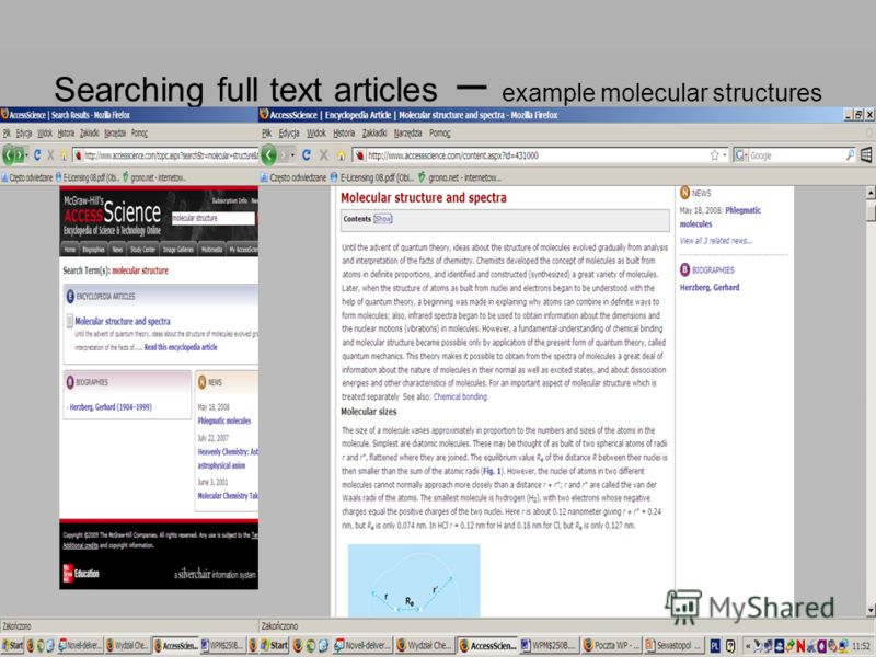 Searching full text articles – example molecular structures