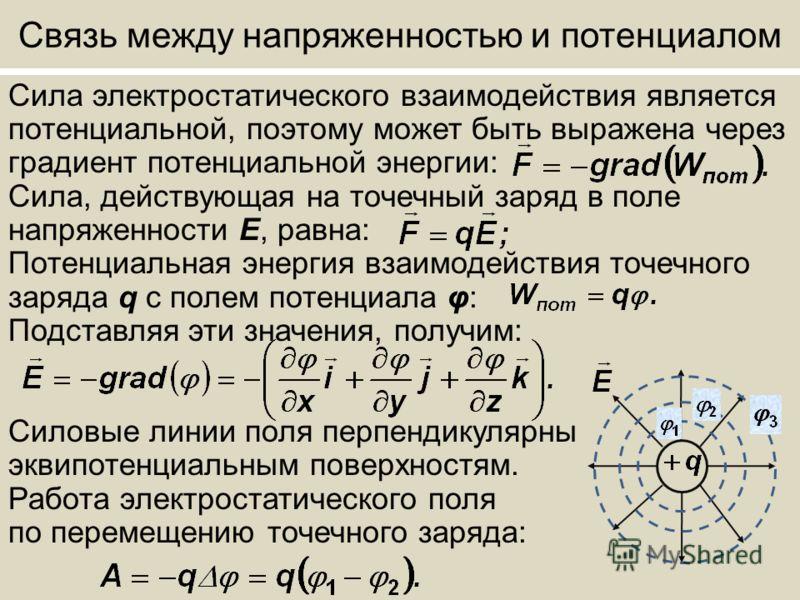 Связь между напряженностью и потенциалом Сила электростатического взаимодействия является потенциальной, поэтому может быть выражена через градиент потенциальной энергии: Сила, действующая на точечный заряд в поле напряженности Е, равна: Потенциальна
