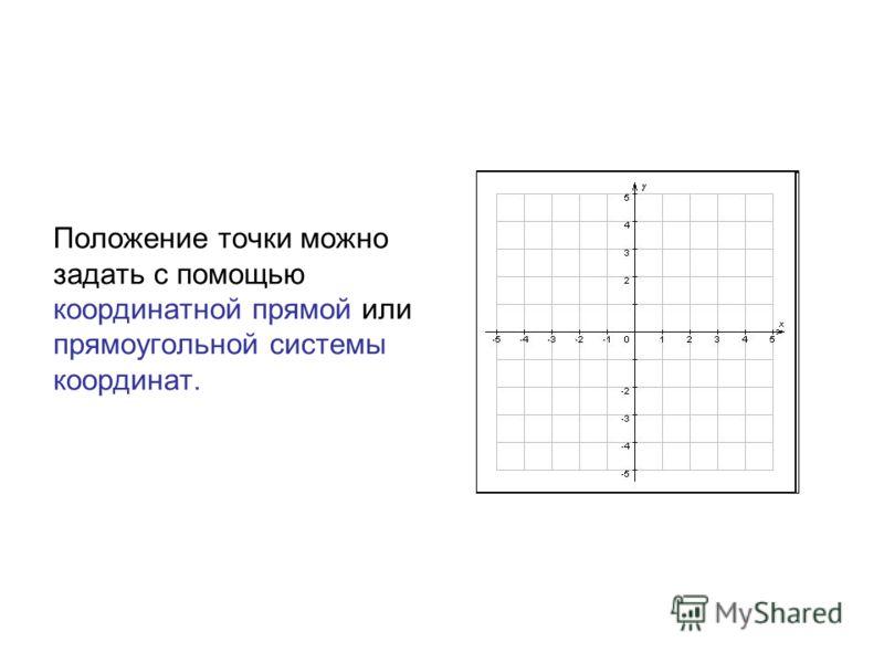 Положение точки можно задать с помощью координатной прямой или прямоугольной системы координат.