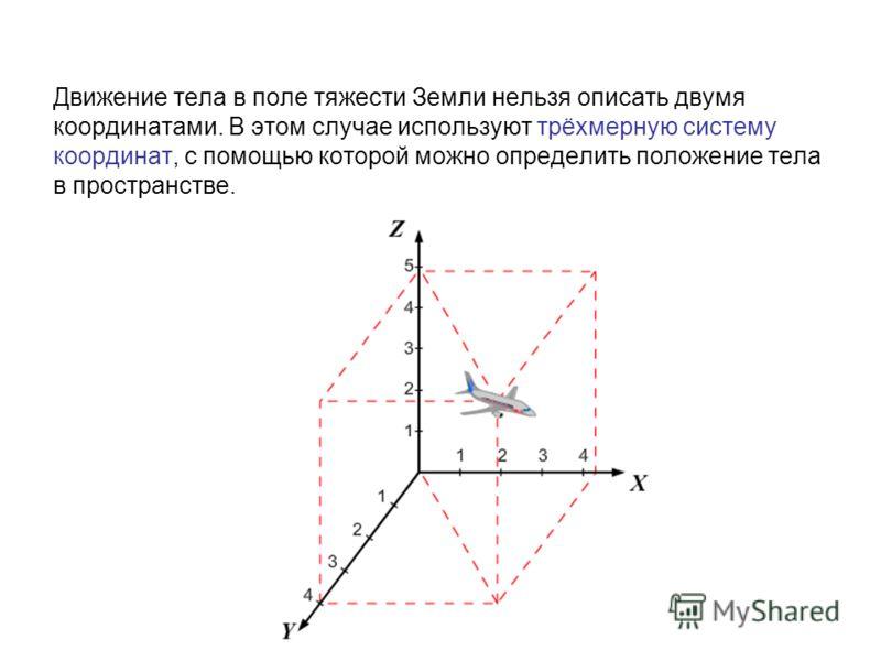 Движение тела в поле тяжести Земли нельзя описать двумя координатами. В этом случае используют трёхмерную систему координат, с помощью которой можно определить положение тела в пространстве.