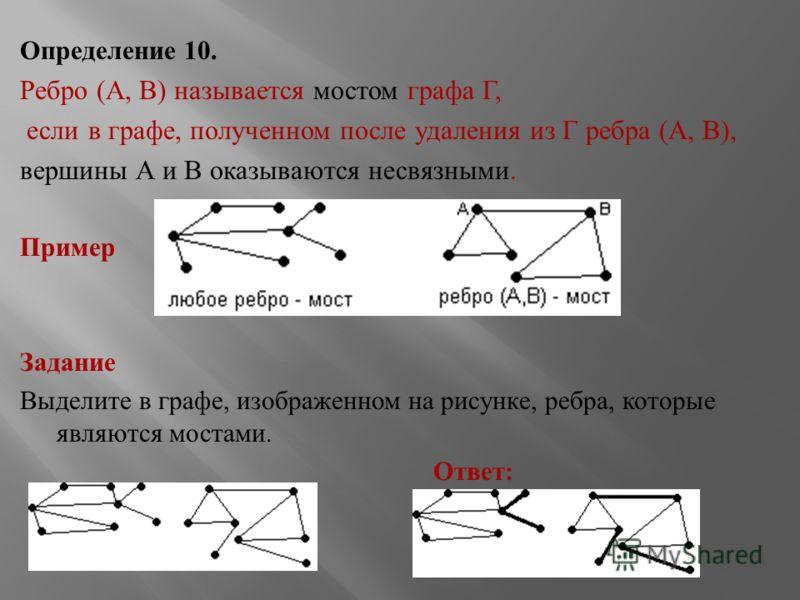 Определение 10. Ребро ( А, В ) называется мостом графа Г, если в графе, полученном после удаления из Г ребра ( А, В ), вершины А и В оказываются несвязными. Пример Задание Выделите в графе, изображенном на рисунке, ребра, которые являются мостами. От