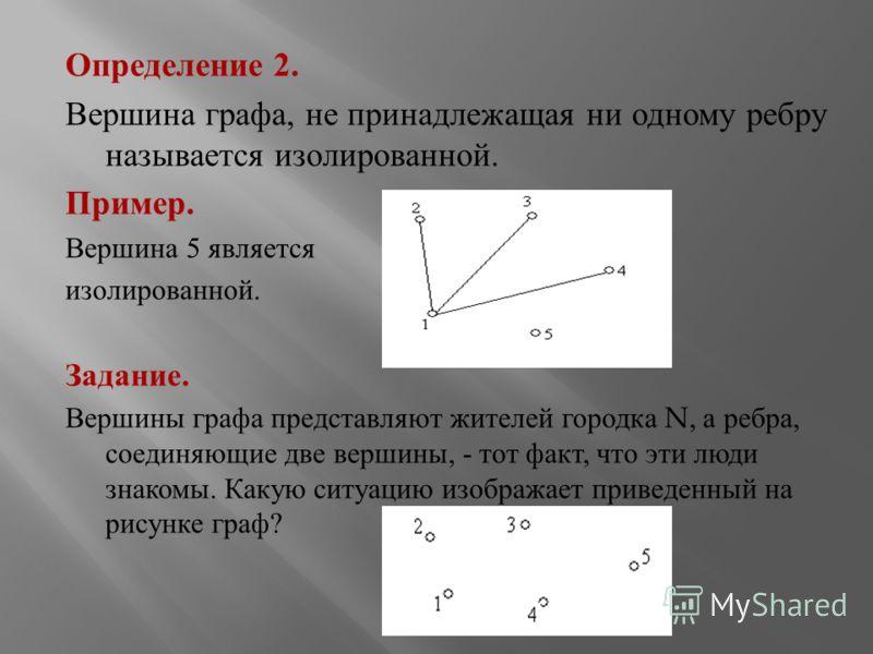 Определение 2. Вершина графа, не принадлежащая ни одному ребру называется изолированной. Пример. Вершина 5 является изолированной. Задание. Вершины графа представляют жителей городка N, а ребра, соединяющие две вершины, - тот факт, что эти люди знако
