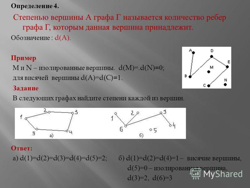 Определение 4. Степенью вершины А графа Г называется количество ребер графа Г, которым данная вершина принадлежит. Обозначение : d(A). Пример М и N – изолированные вершины. d(M)=.d(N)=0; для висячей вершины d(A)=d(C)=1. Задание В следующих графах най