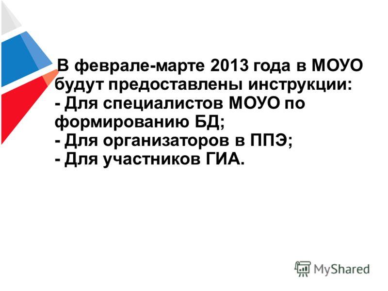В феврале-марте 2013 года в МОУО будут предоставлены инструкции: - Для специалистов МОУО по формированию БД; - Для организаторов в ППЭ; - Для участников ГИА.