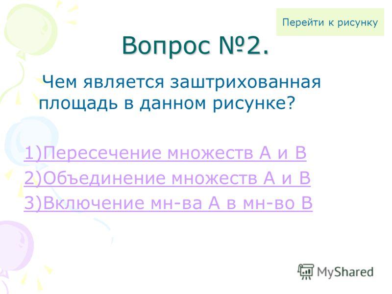 Вопрос 2. Чем является заштрихованная площадь в данном рисунке? 1)Пересечение множеств А и В 2)Объединение множеств А и В 3)Включение мн-ва А в мн-во В Перейти к рисунку