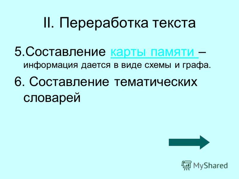 II. Переработка текста 5.Составление карты памяти – информация дается в виде схемы и графа.карты памяти 6. Составление тематических словарей