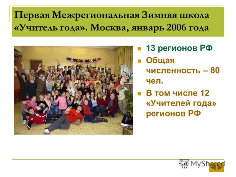 Первая Межрегиональная Зимняя школа «Учитель года». Москва, январь 2006 года 13 регионов РФ Общая численность – 80 чел. В том числе 12 «Учителей года» регионов РФ