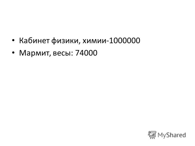 Кабинет физики, химии-1000000 Мармит, весы: 74000