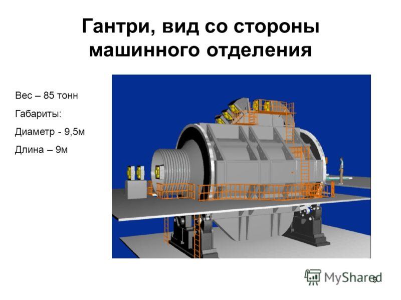 9 Гантри, вид со стороны машинного отделения Вес – 85 тонн Габариты: Диаметр - 9,5м Длина – 9м