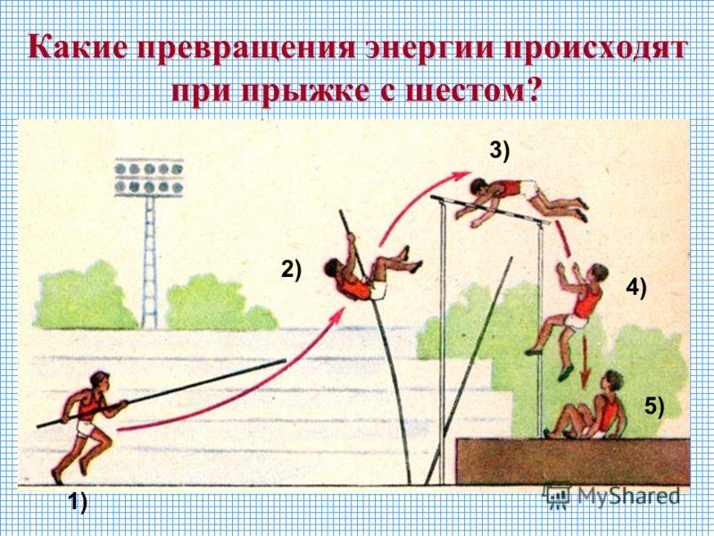 Какие превращения энергии происходят при прыжке с шестом? 1) 2) 3) 4) 5)