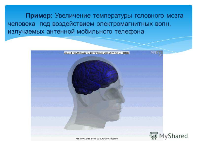 Пример: Увеличение температуры головного мозга человека под воздействием электромагнитных волн, излучаемых антенной мобильного телефона