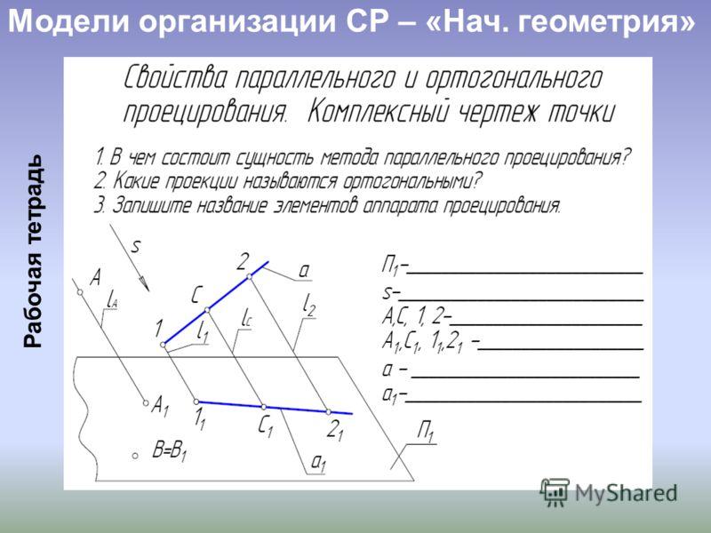 Модели организации СР – «Нач. геометрия» Рабочая тетрадь