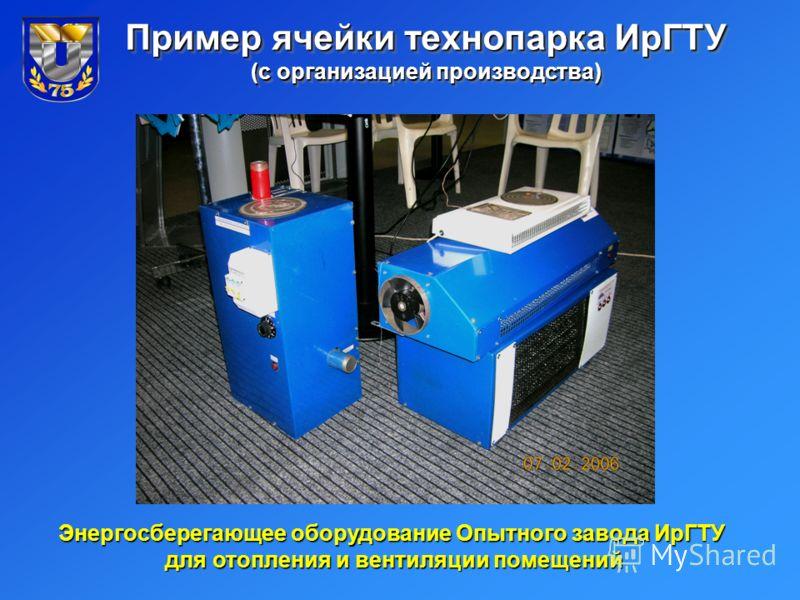 Пример ячейки технопарка ИрГТУ (с организацией производства) Энергосберегающее оборудование Опытного завода ИрГТУ для отопления и вентиляции помещений