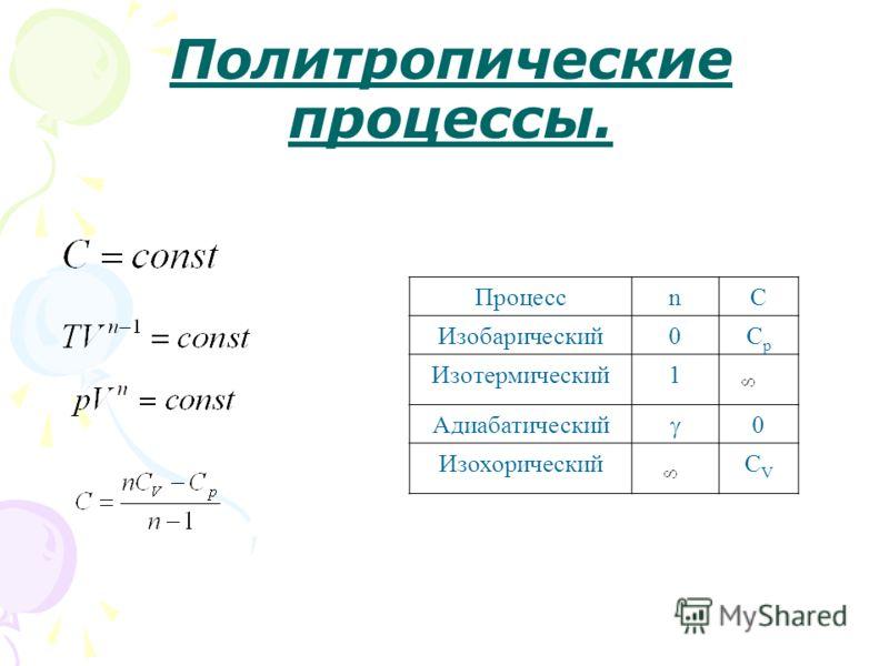 Политропические процессы. ПроцессnC Изобарический0CpCp Изотермический1 Адиабатический 0 ИзохорическийСVСV