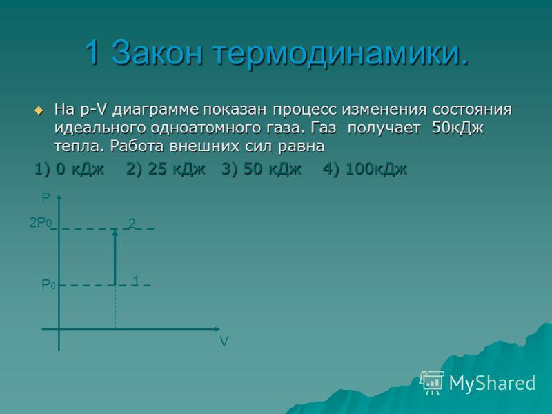 1 Закон термодинамики. На р-Т диаграмме показан процесс изменения состояния идеального одноатомного газа. Газ отдает 50кДж тепла. Работа внешних сил равна На р-Т диаграмме показан процесс изменения состояния идеального одноатомного газа. Газ отдает 5